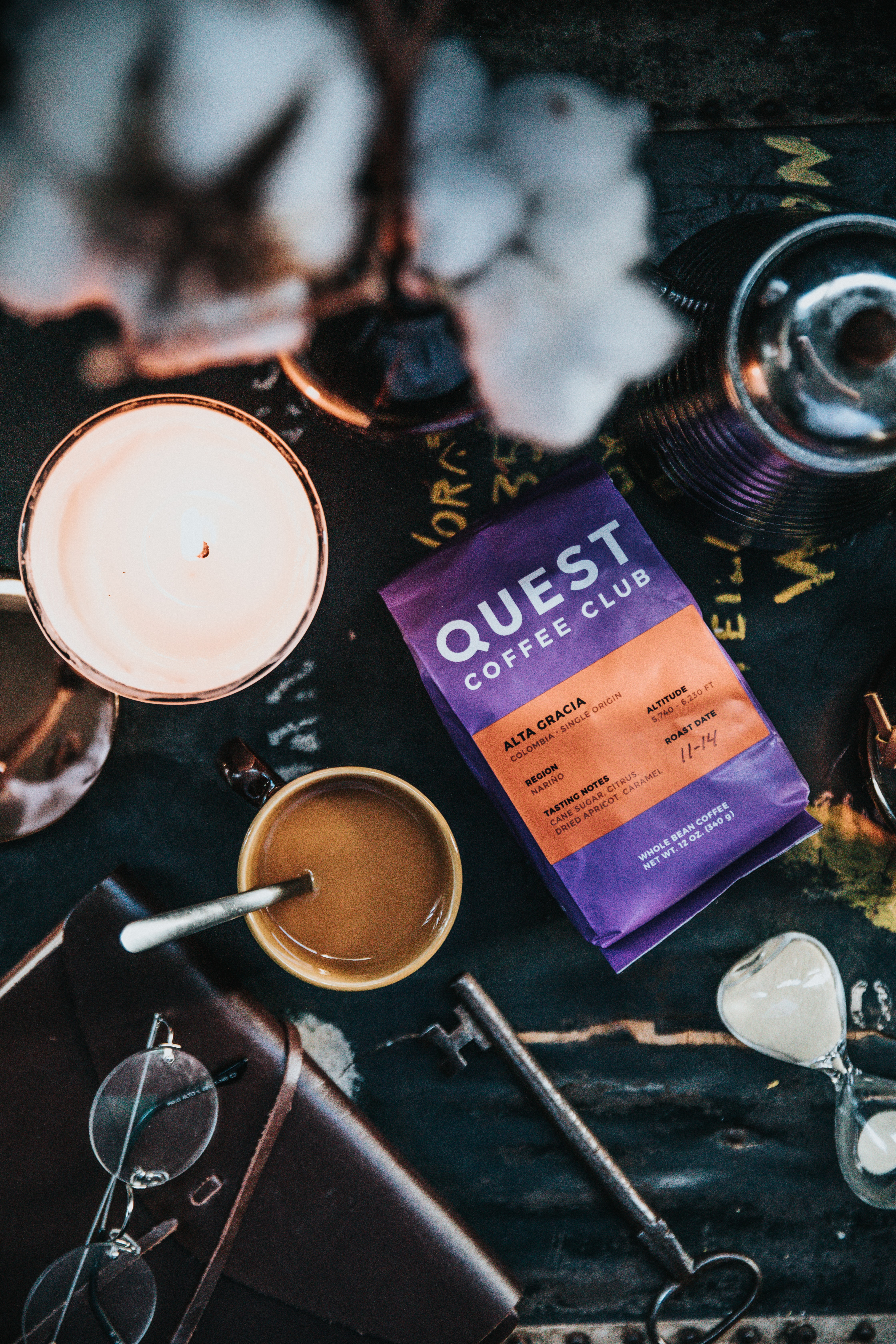 blue quest coffee club pack near mug