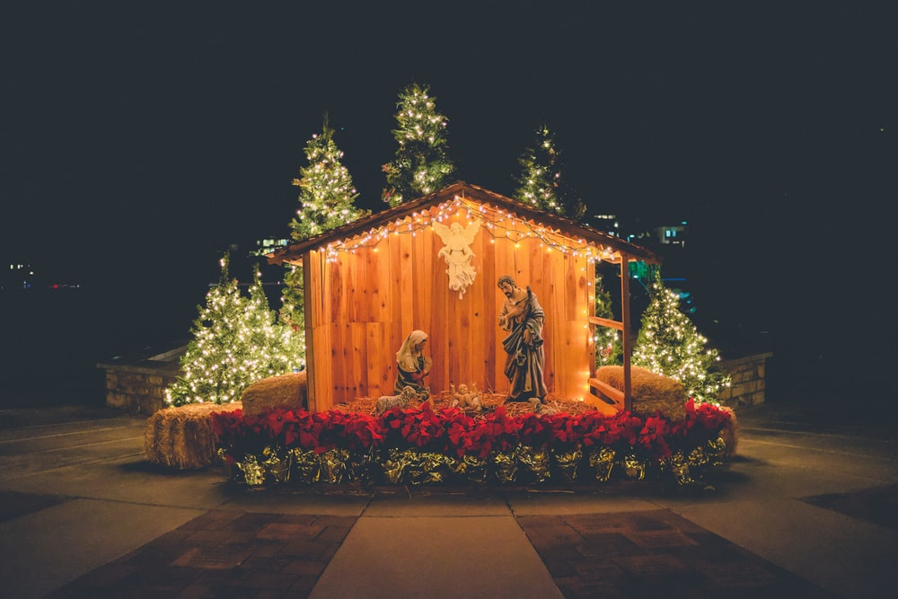 nativity outdoor decor during night time