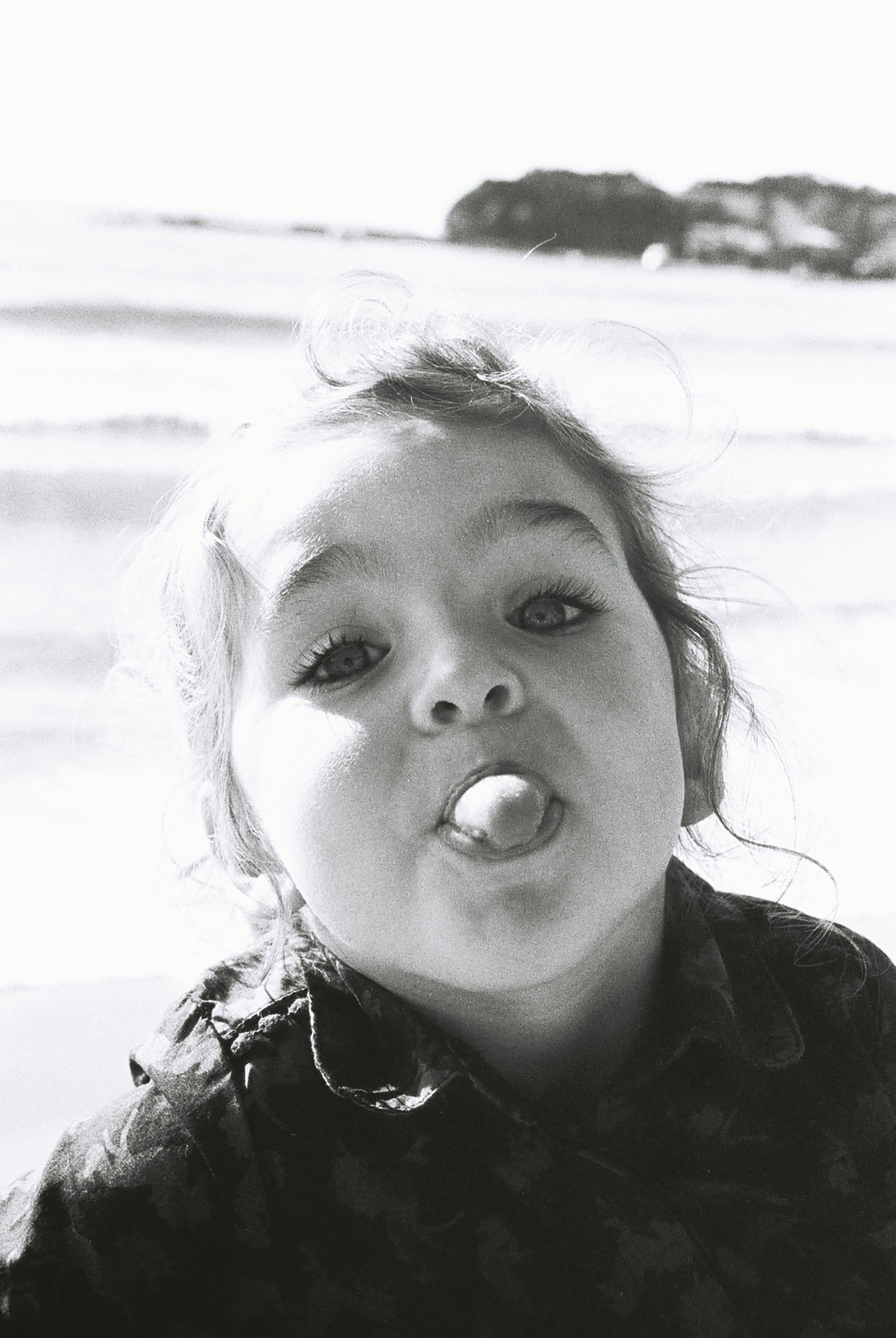grayscale photography of girl