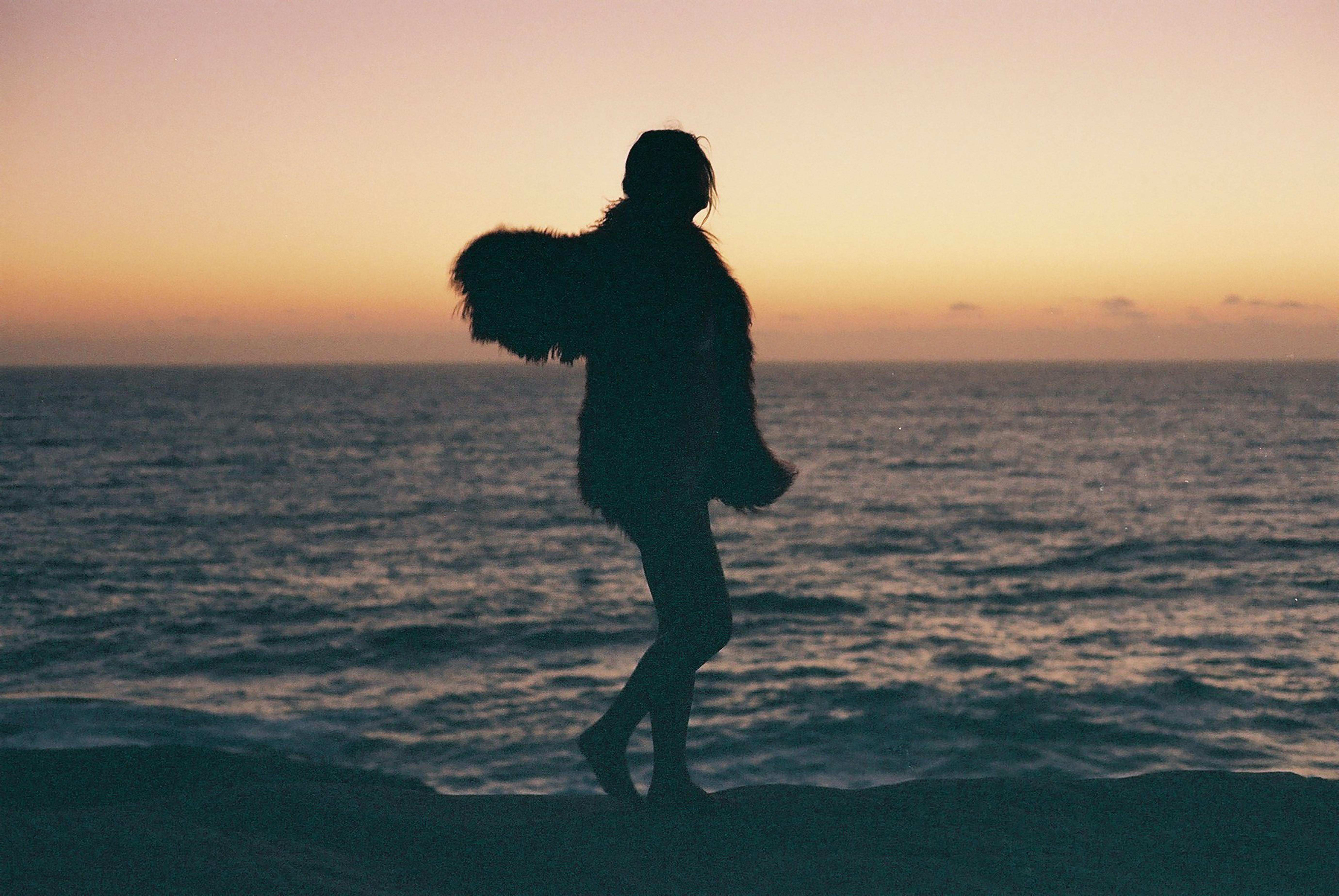 silhouette of person standing near seashore