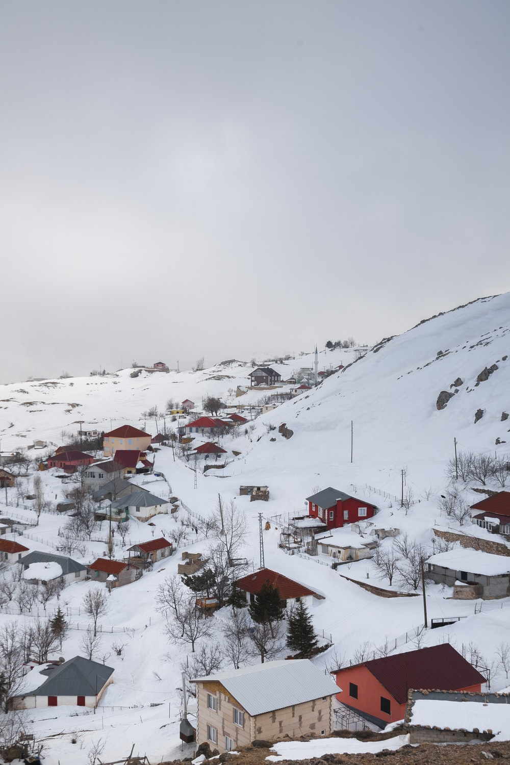 aerial photography of snow covered village