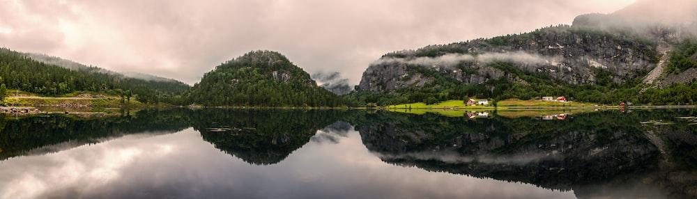 mirror reflection photography of mountain range