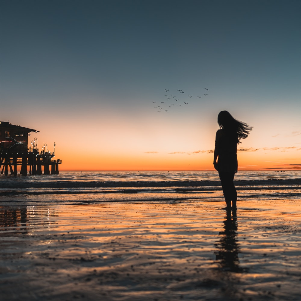 silhouette of woman standing at the seashore with crashing waves during golden hour