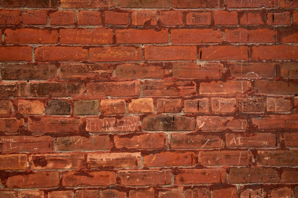 red stone brick wall