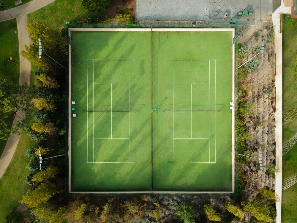 aerial photography of tennis field
