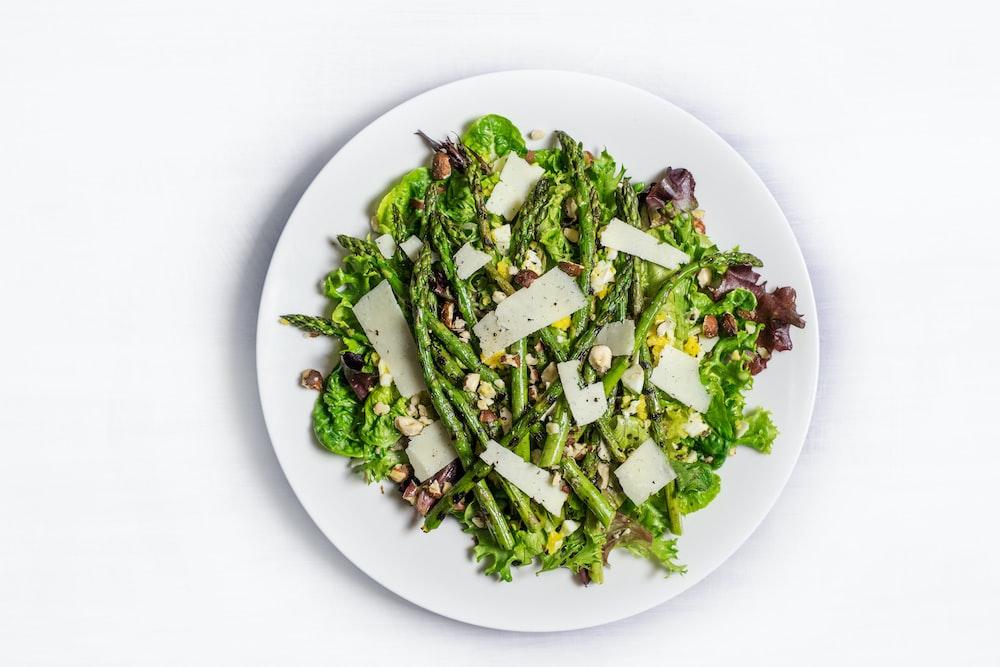 vegetables on ceramic plate