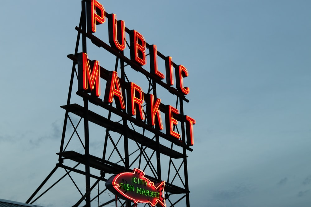 red Public Market LED signage
