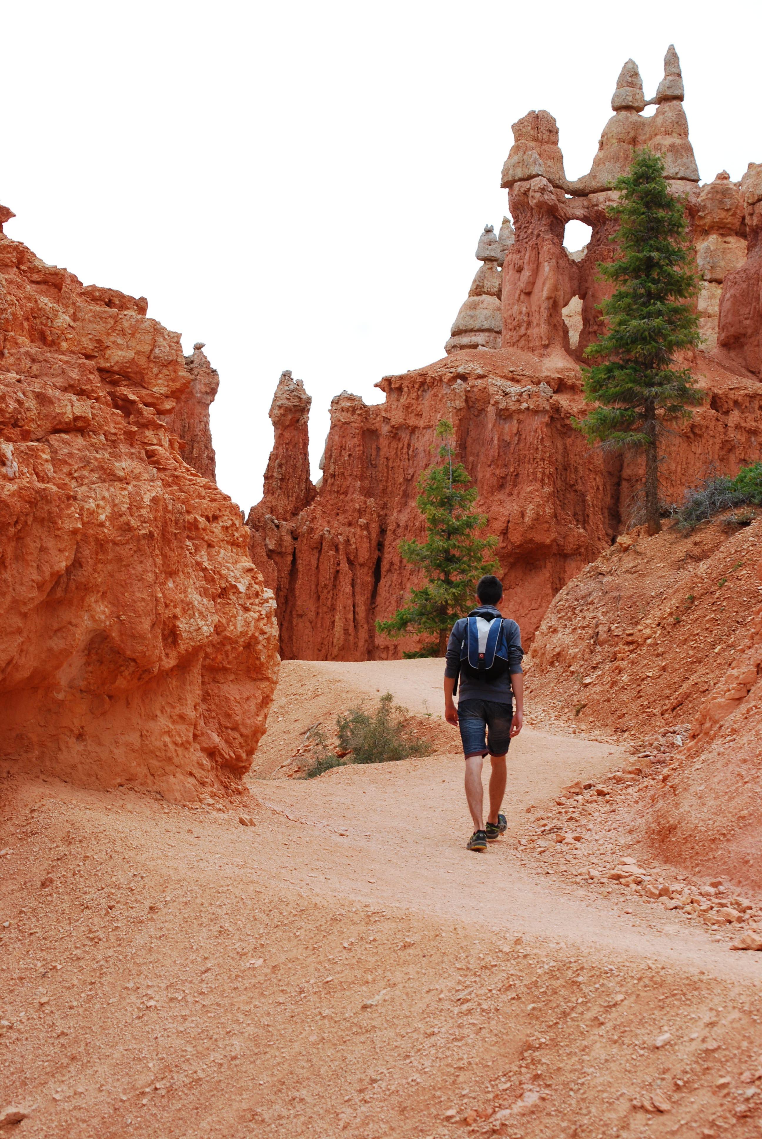 man walking on road between rock formation mountains