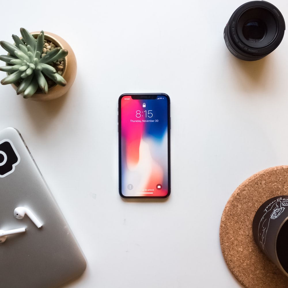 space gray iPhone X near green succulent
