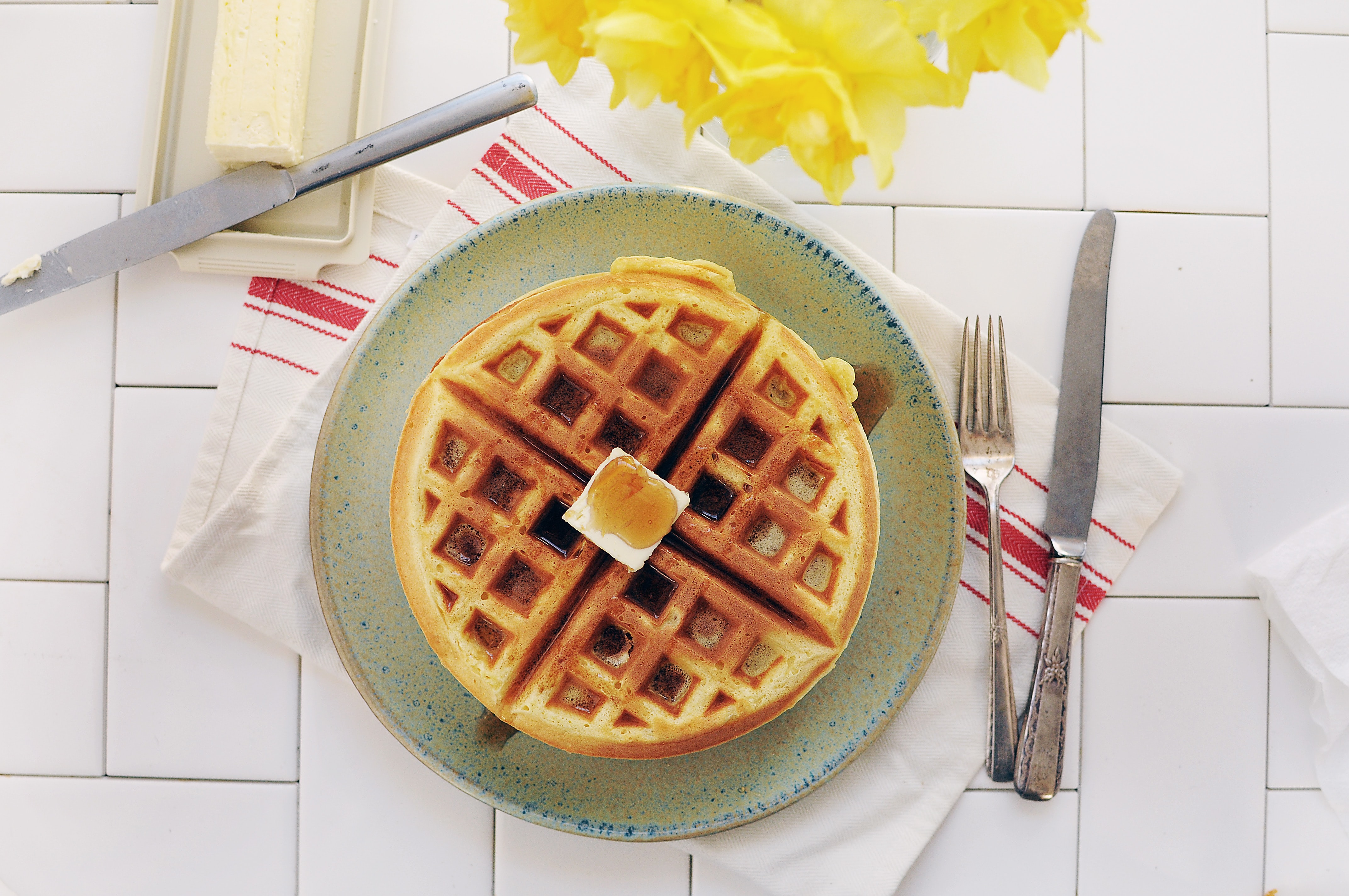 waffle on gray ceramic plate
