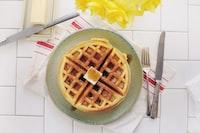 waffle on gray ceramic plate