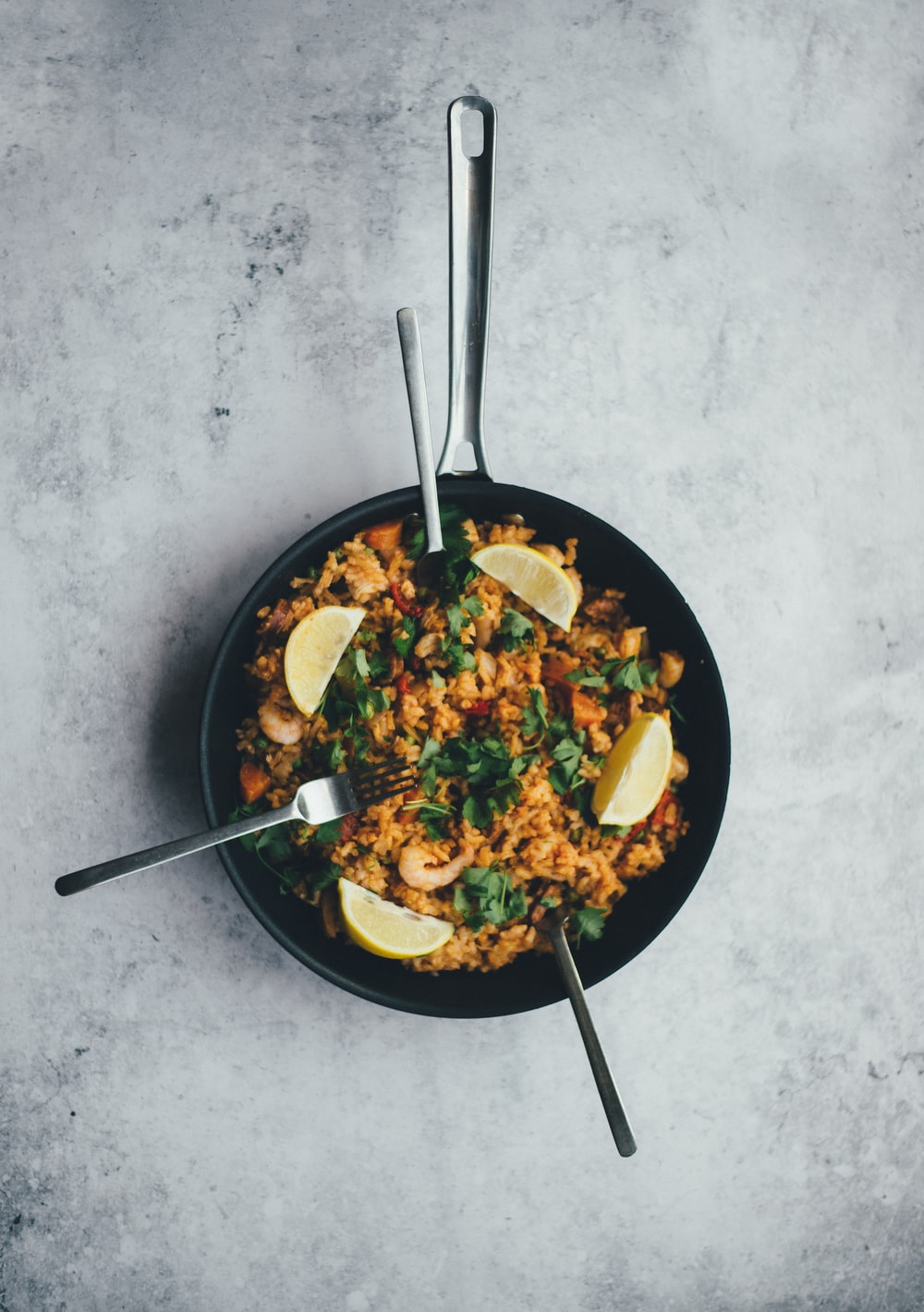 cooked food on black frying pan