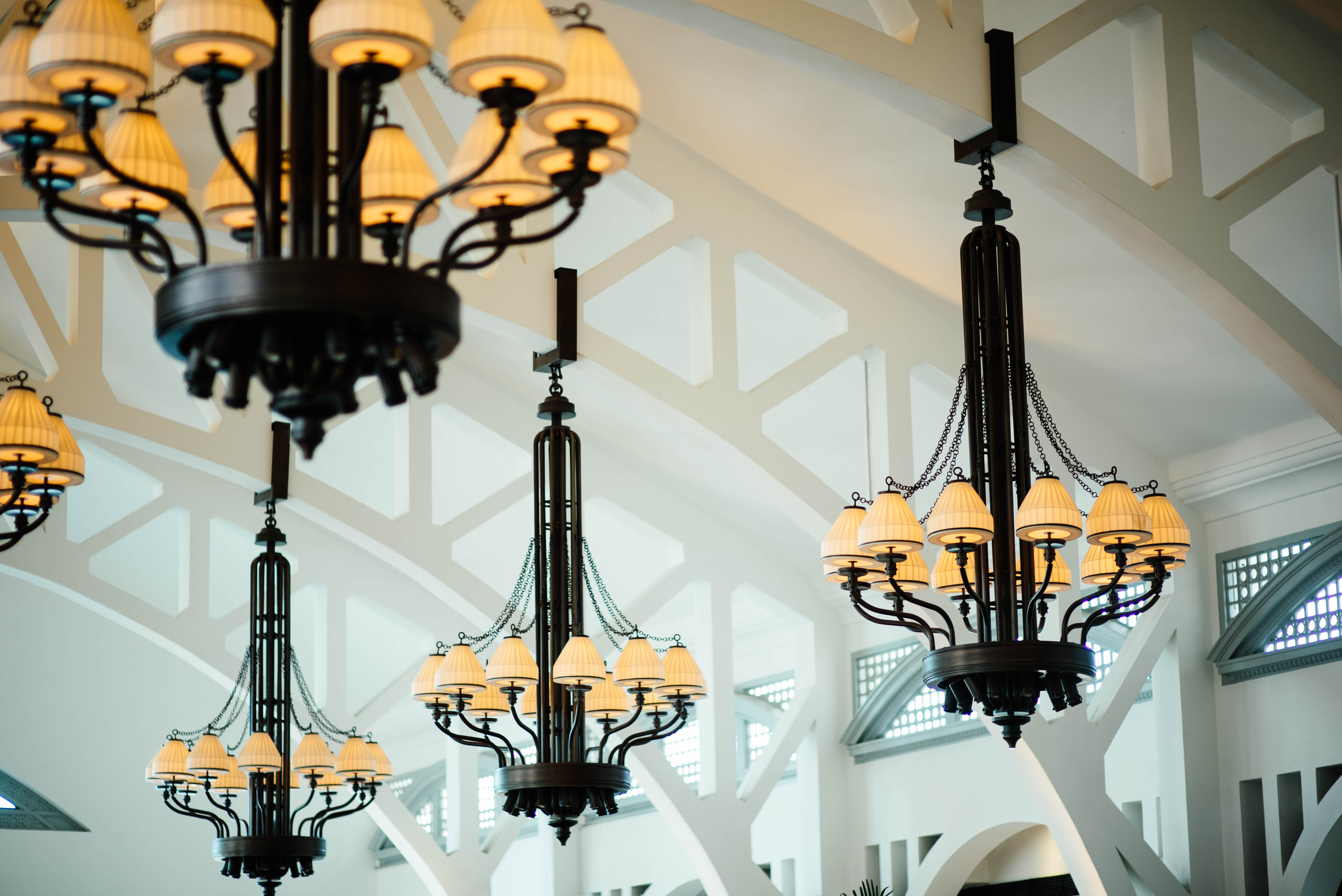 black and yellow down-light chandeliers