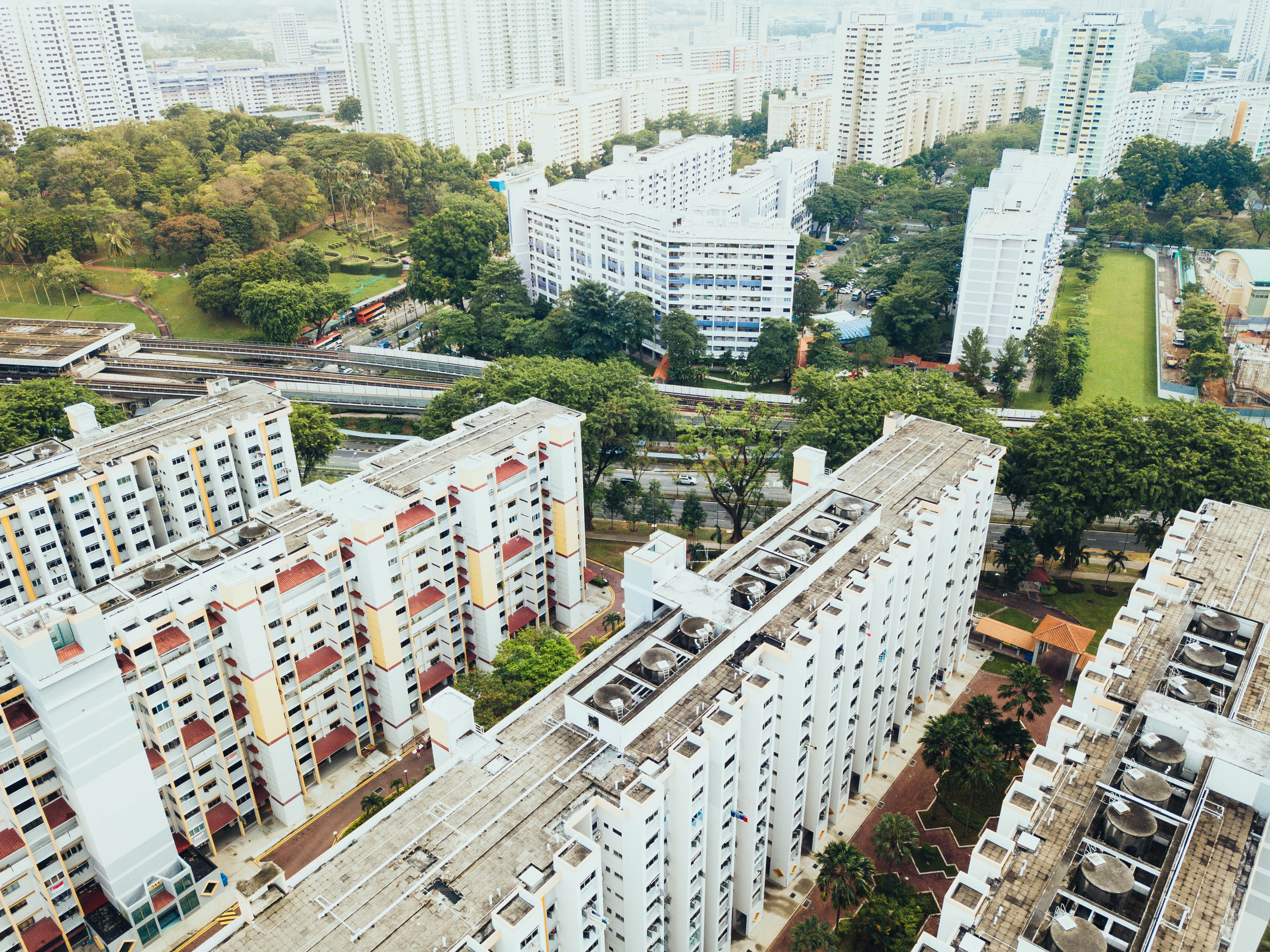 aerial view photography of white buildings