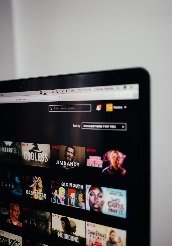 computer monitor showing Netflix selection screen