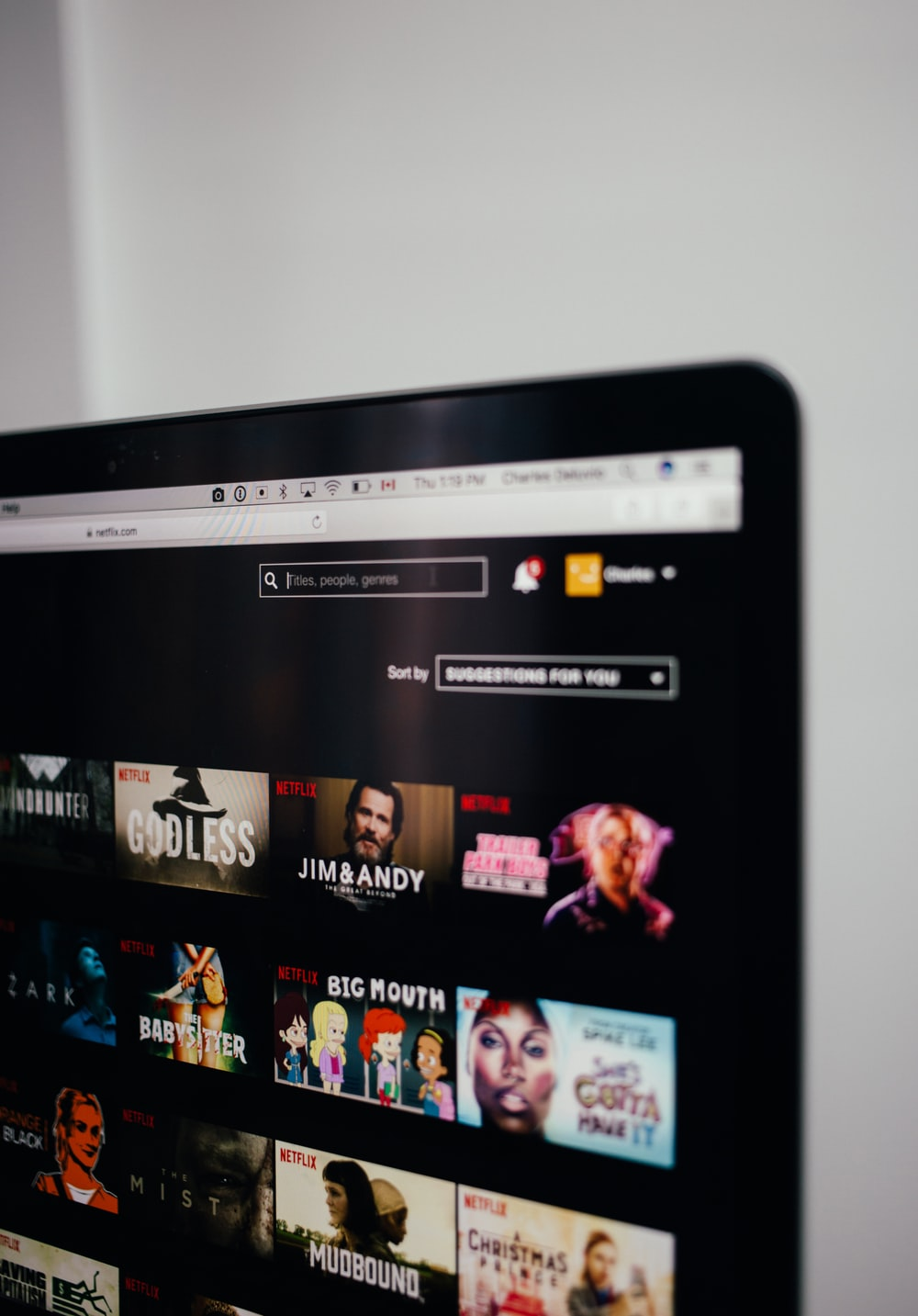 computer monitor showing Netflix selection screen
