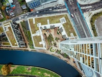 bird's eye view of building next to river