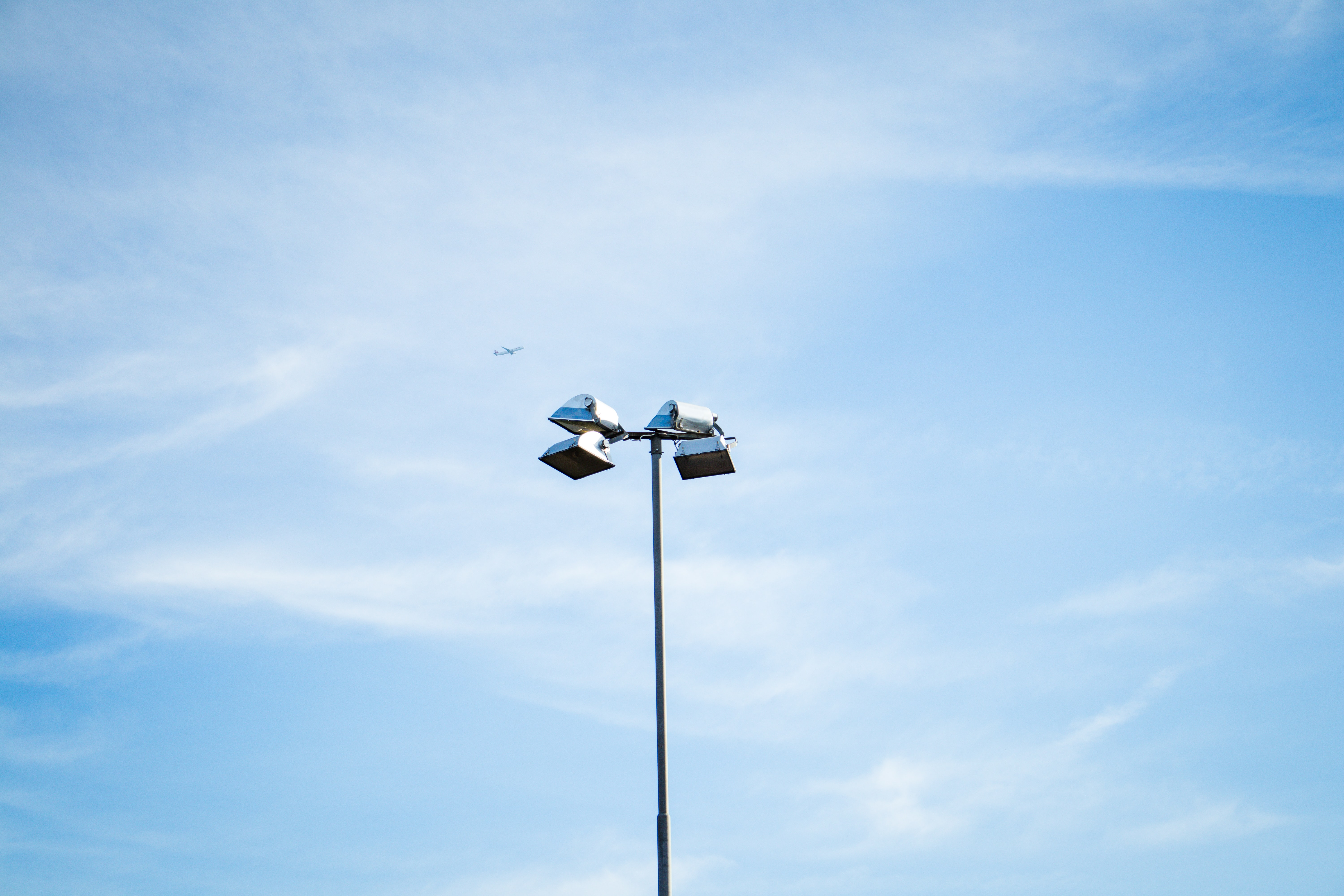 close up photography of post lamp under blue sky
