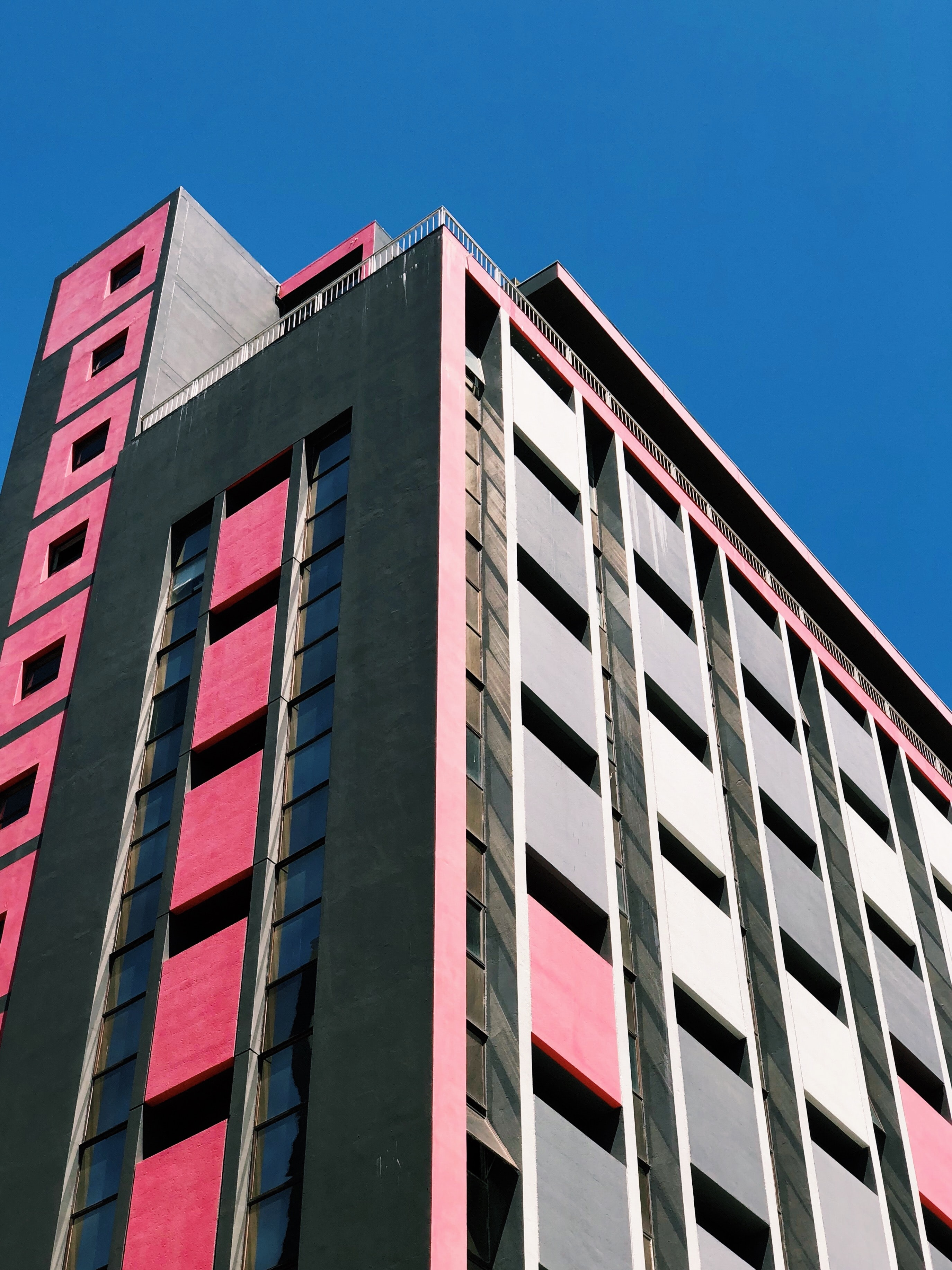 black and pink concrete building