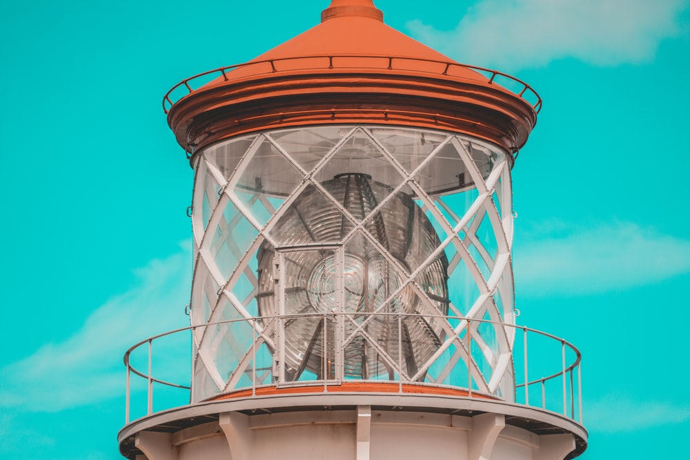 white and orange lighthouse