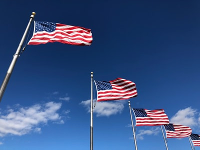u.s. american flags under clear sky washington monument zoom background