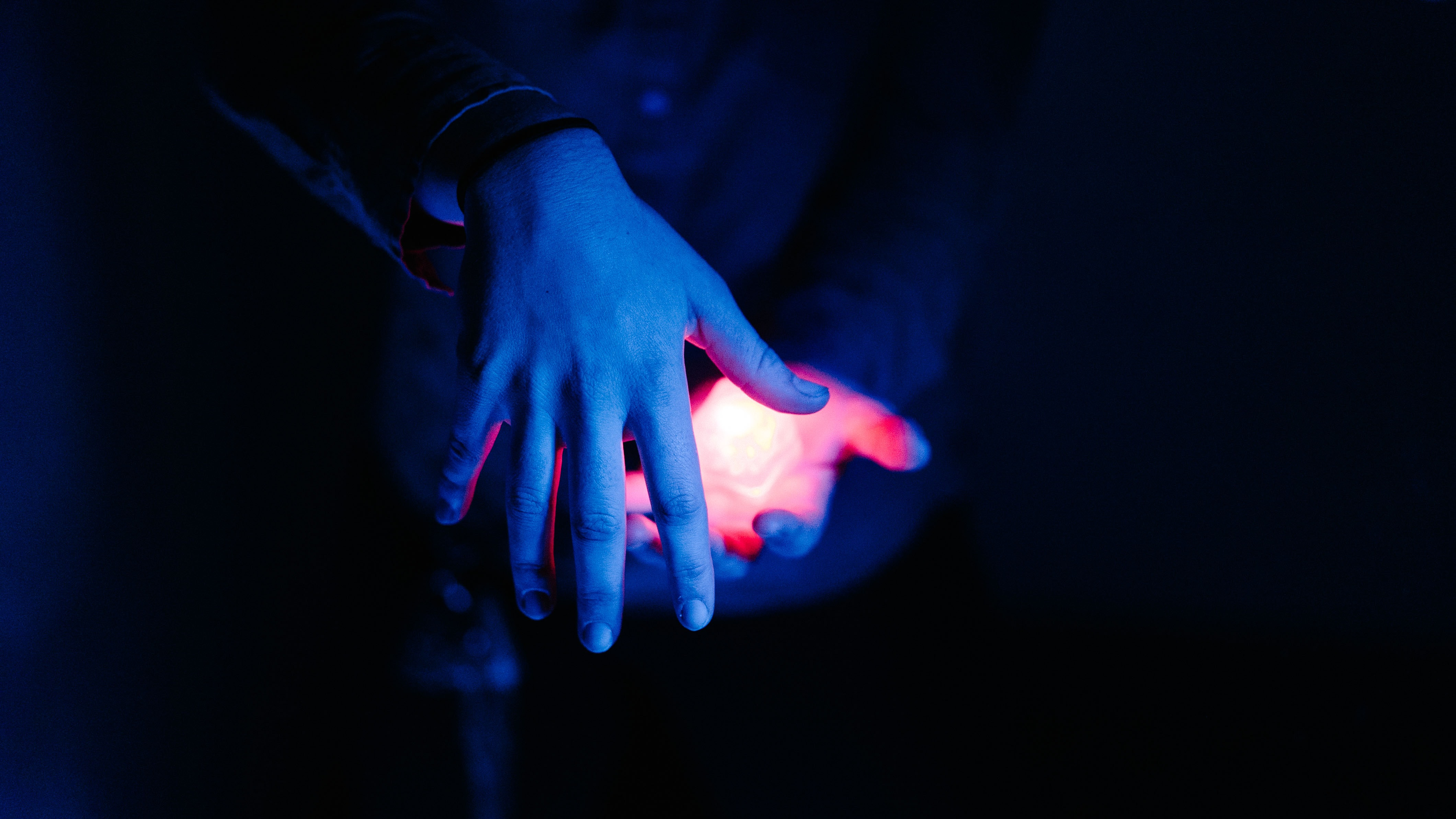 red light on human palm