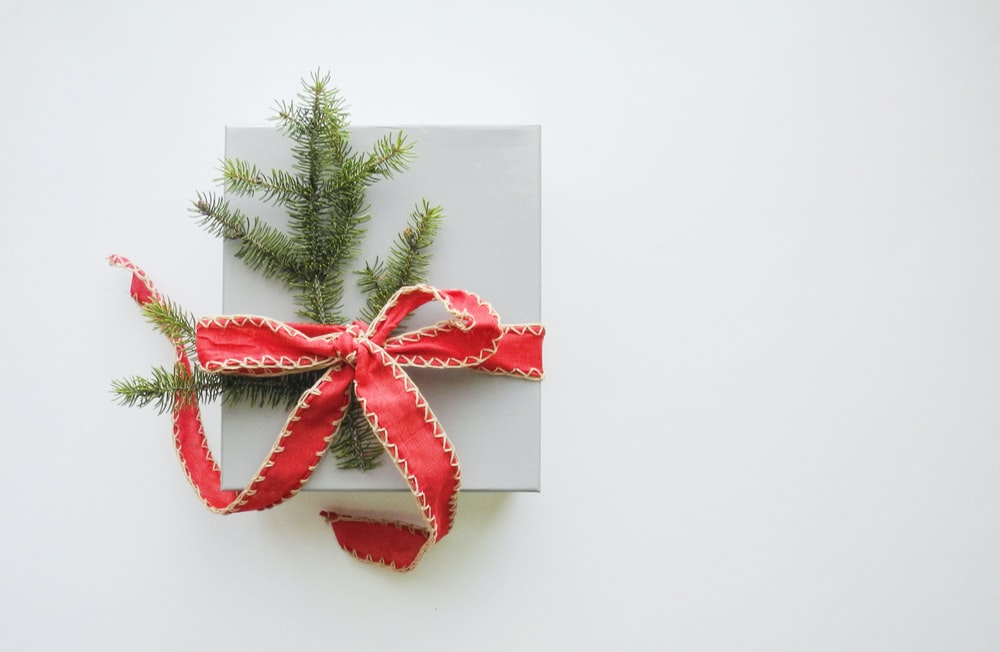 photo of white and red gift box