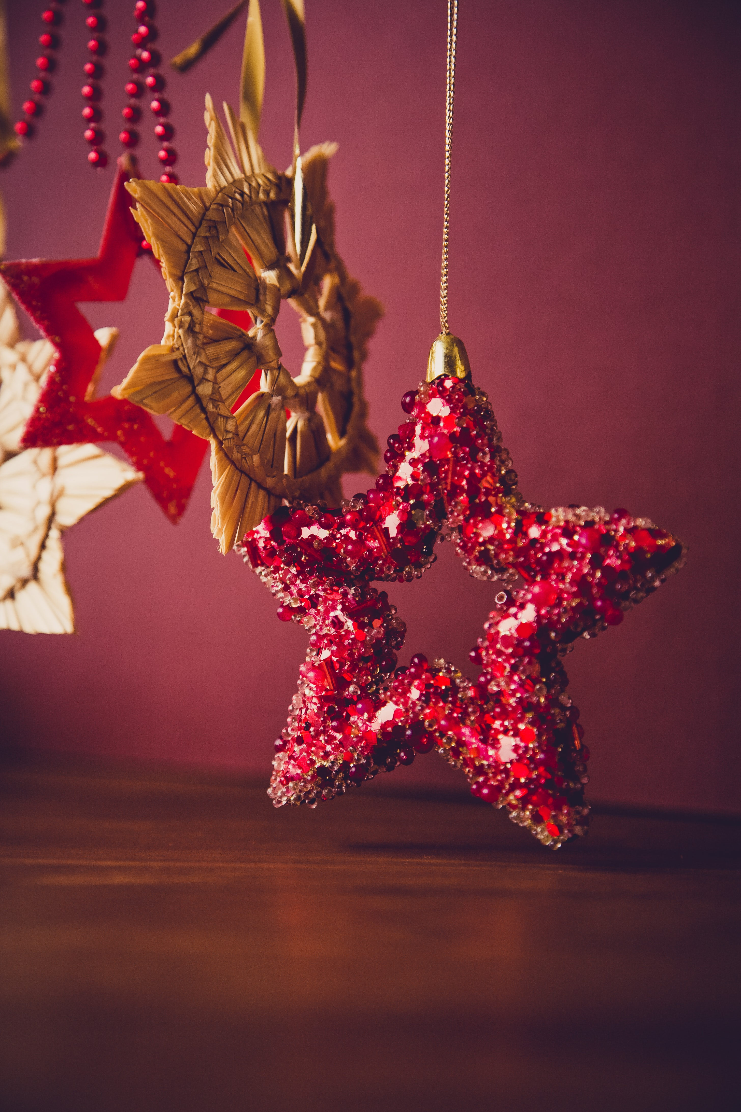 red sequined star handing decor