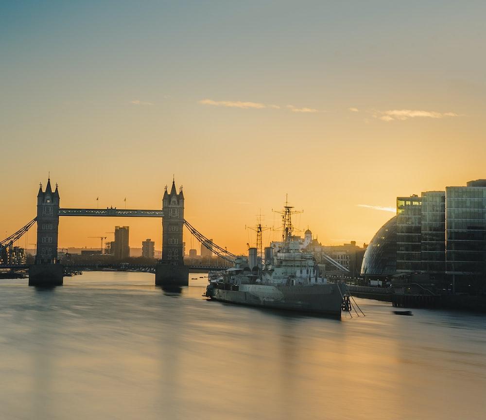 gray ship near Tower Bridge during daytime