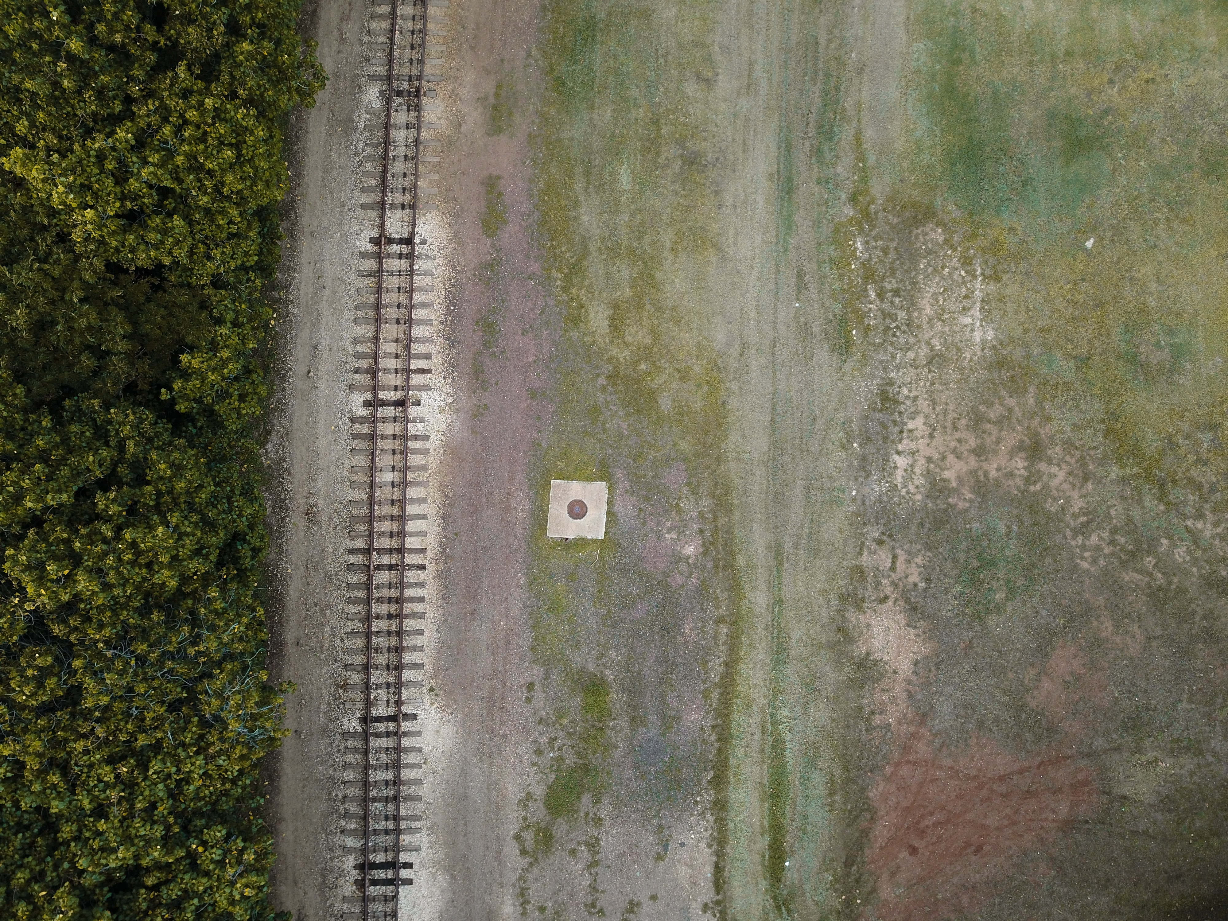aerial view photography of train tracks