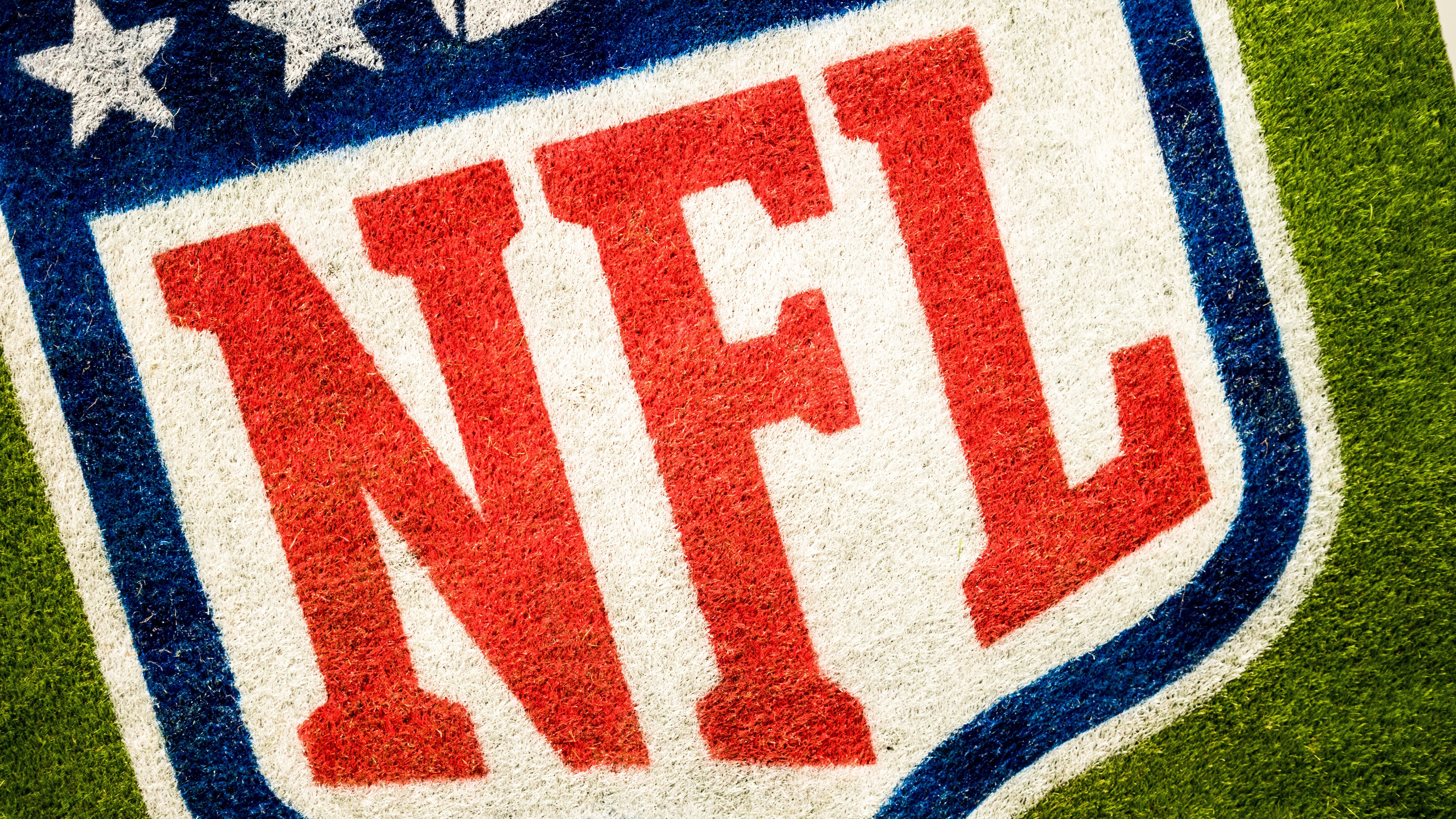 aerial photography of NFL logo printed on field