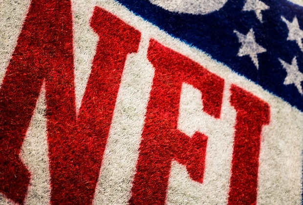 Giants, red, white, and blue NFL area rug