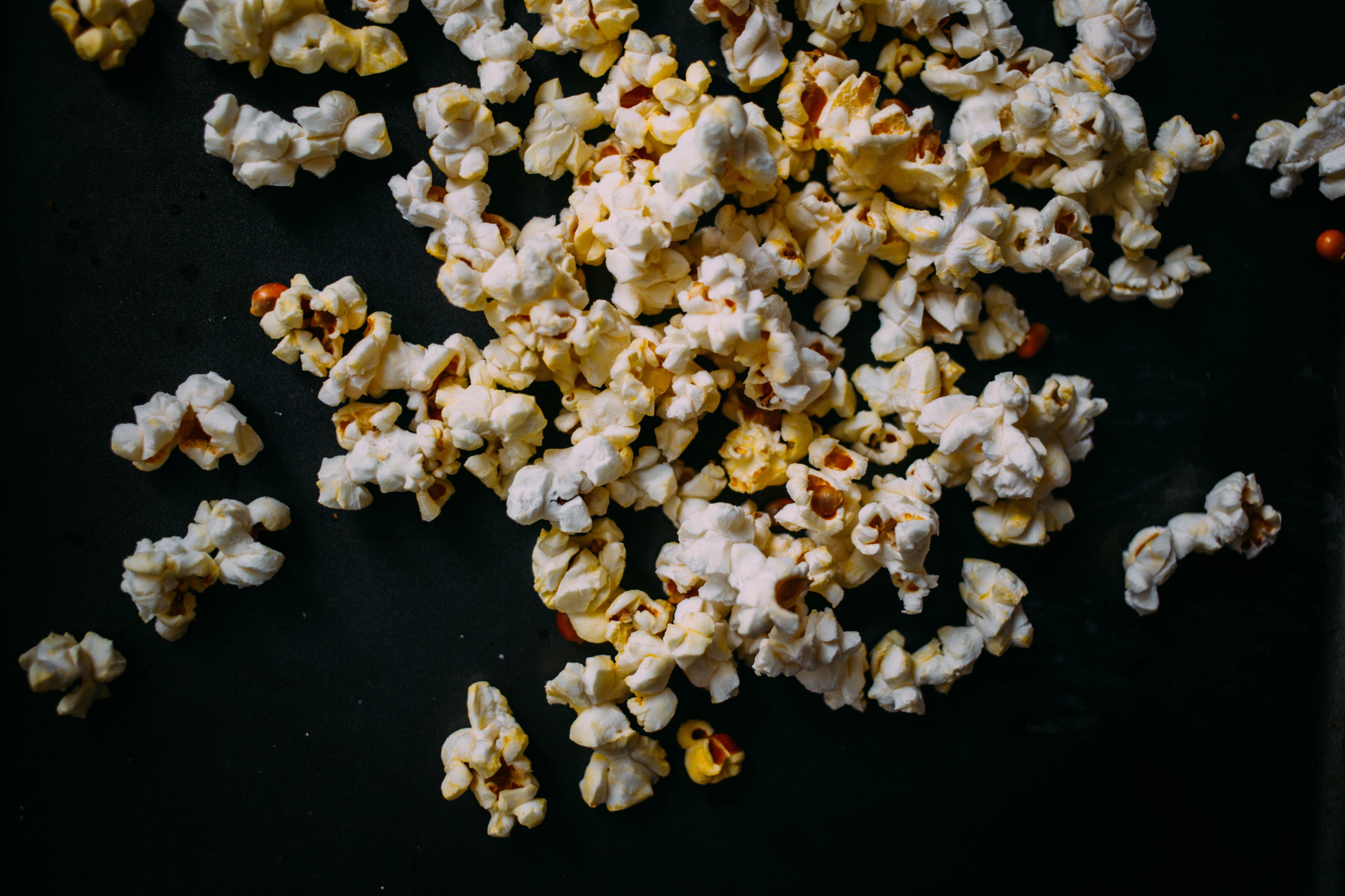 popcorn on black panel