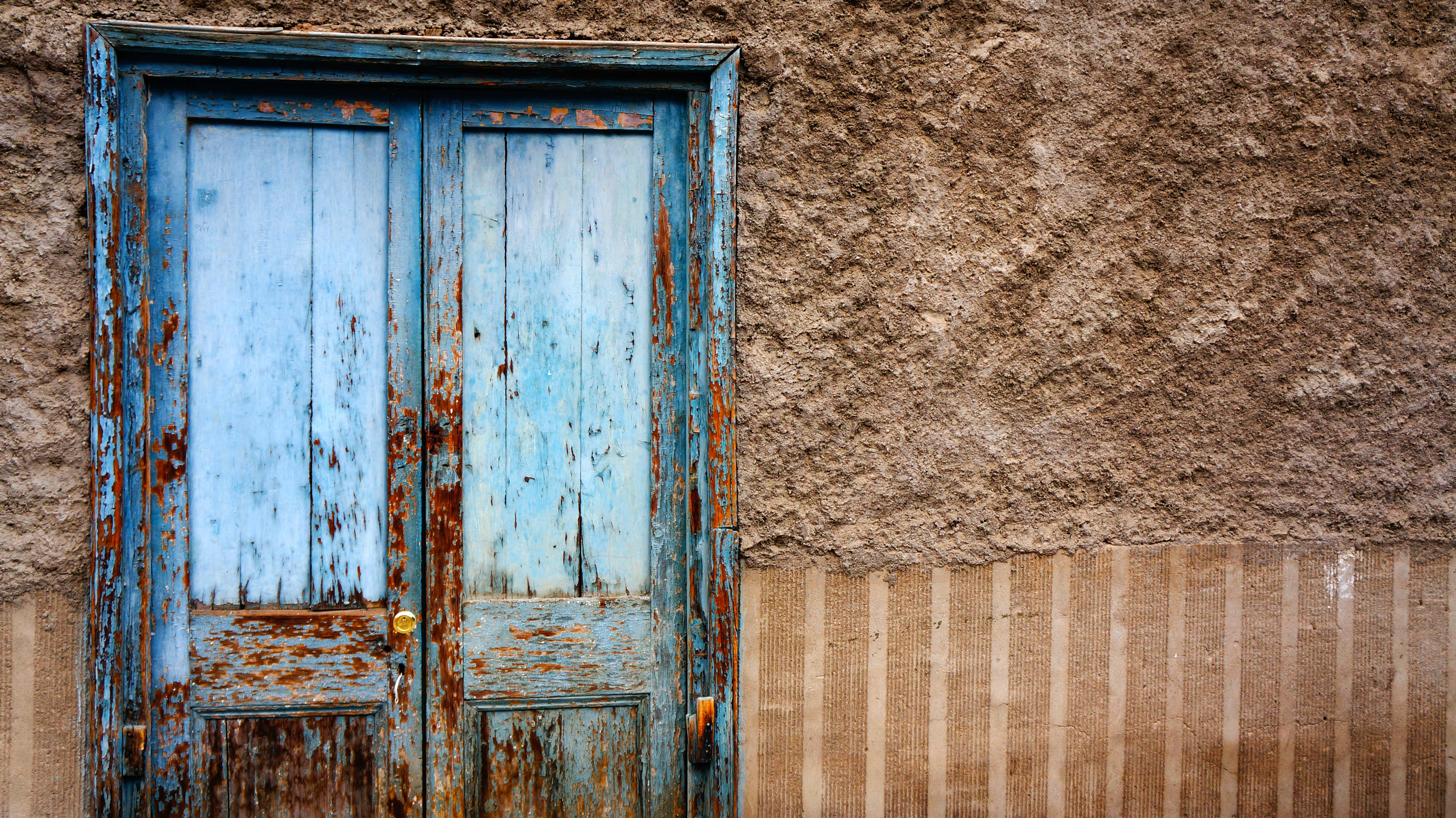 closed blue wooden door