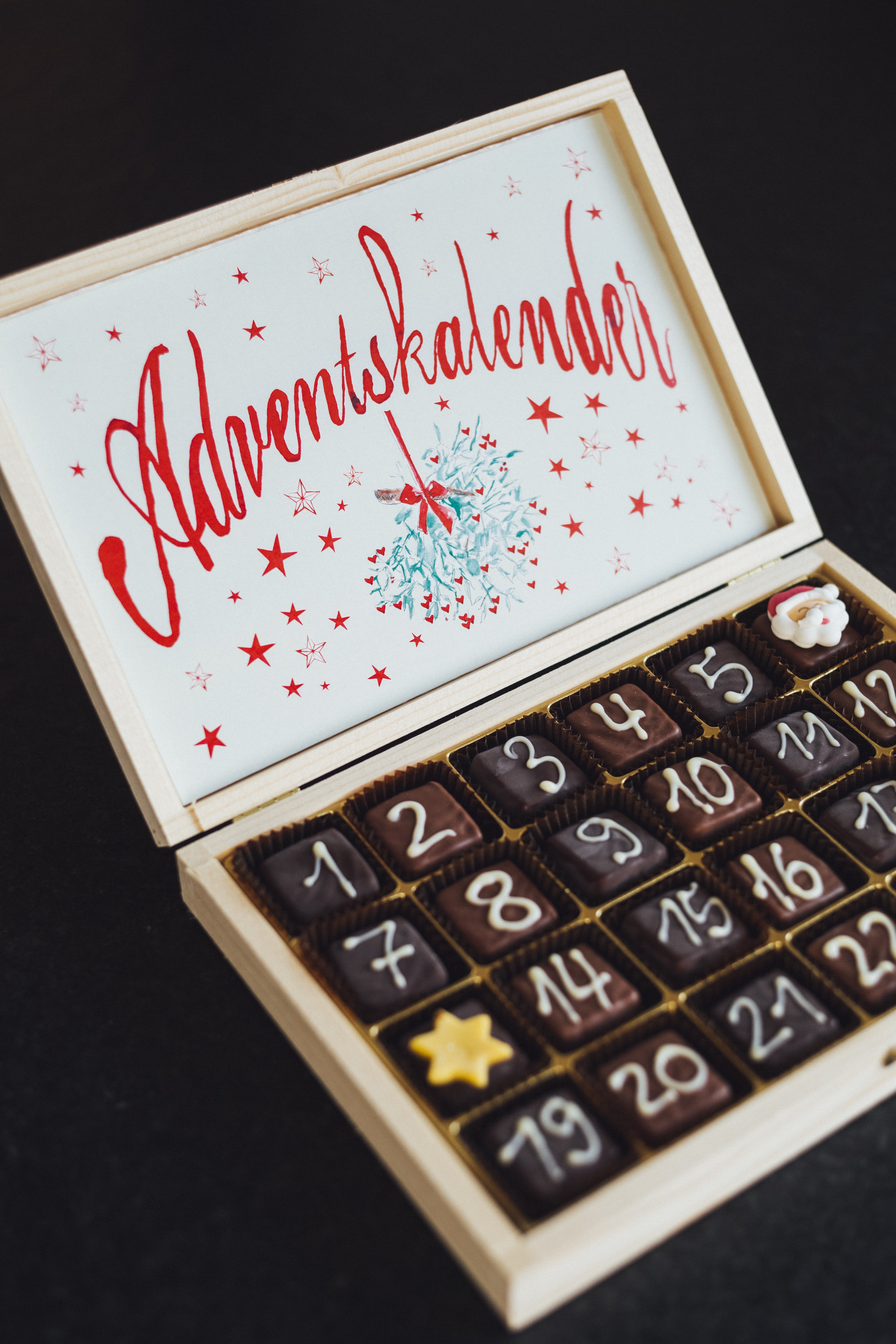chocolate on brown wooden box