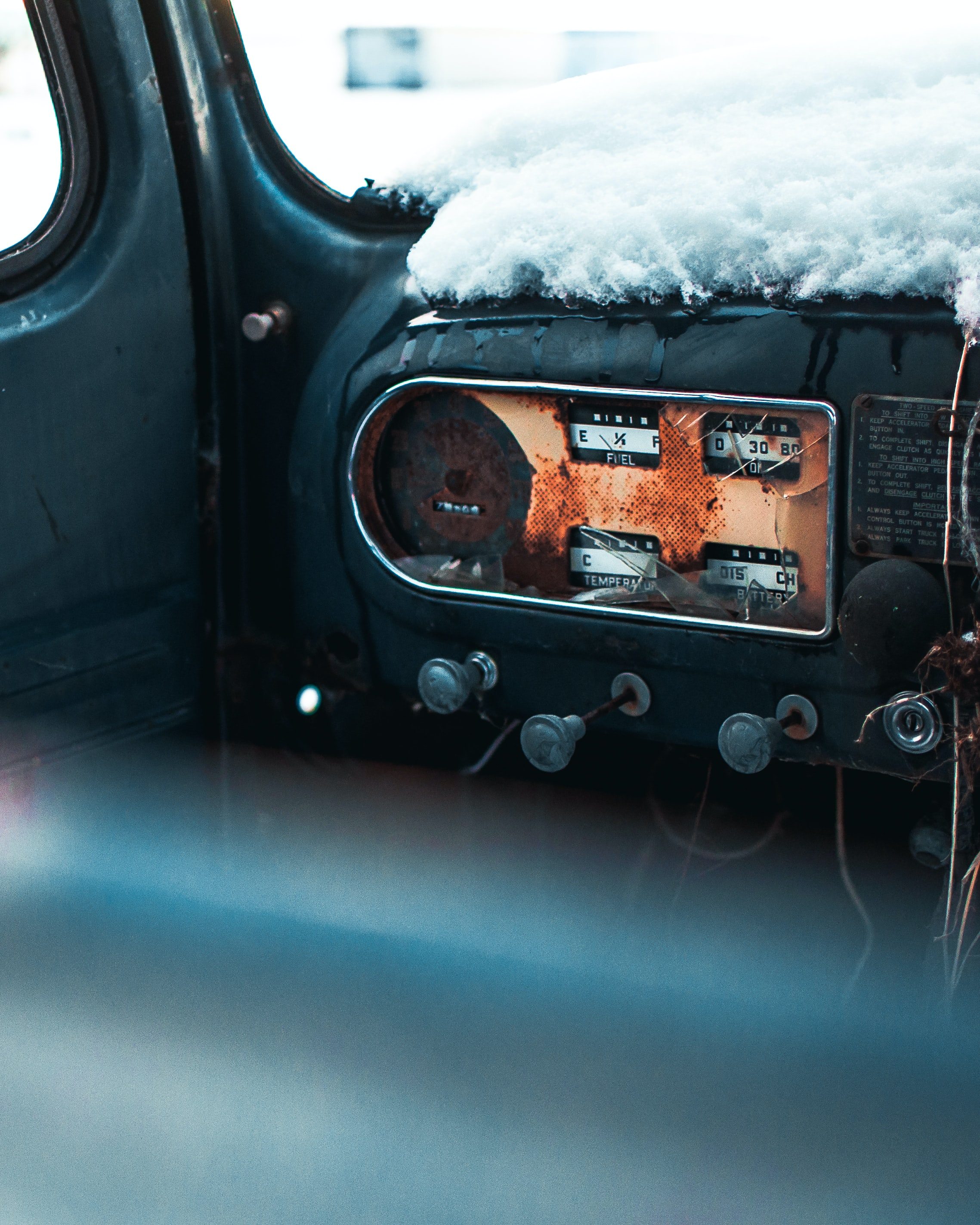 car with snow cover