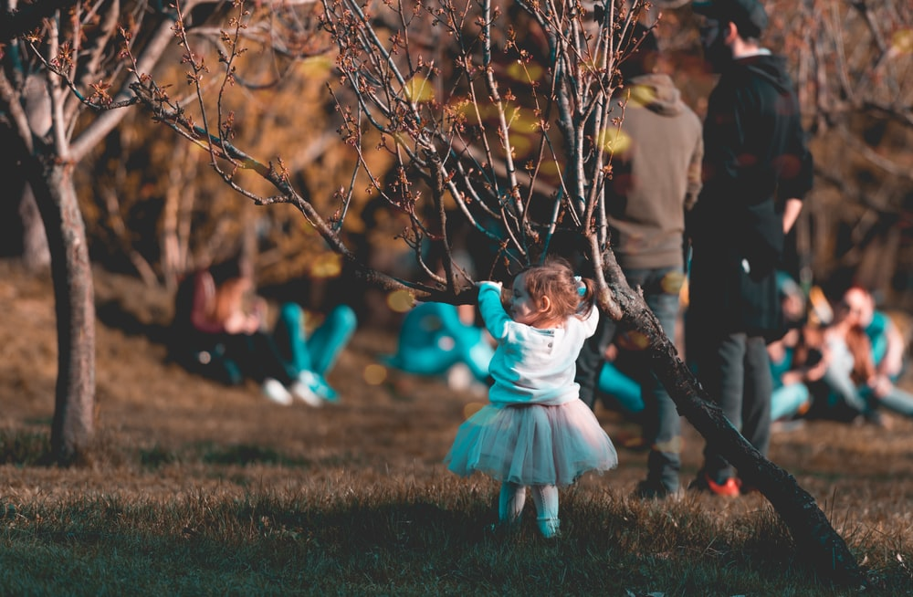 baby in front of tree branch