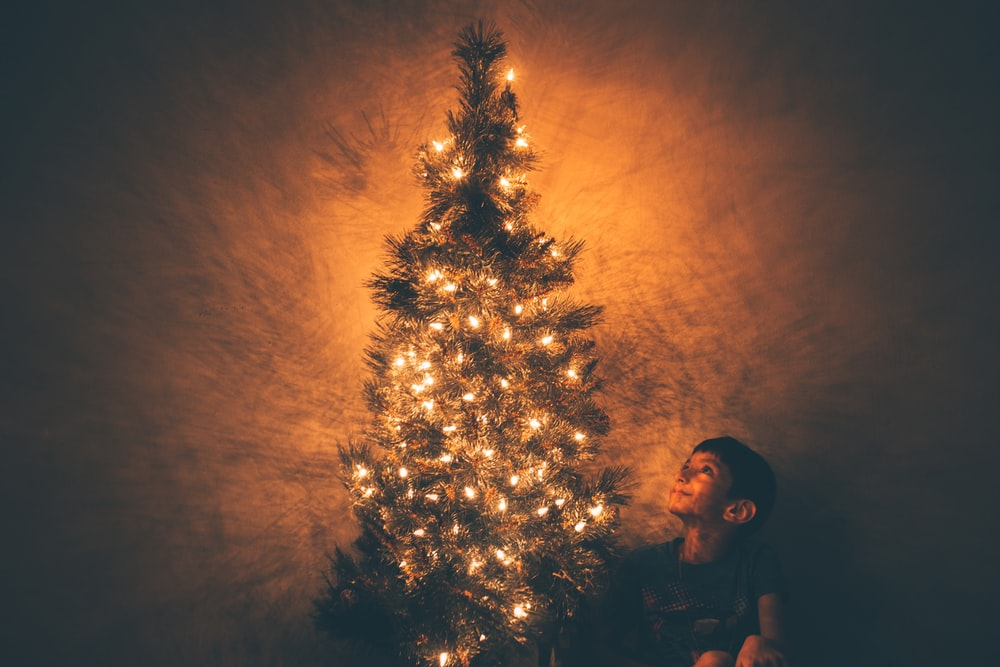 smiling boy beside Christmas tree with lighted string lights