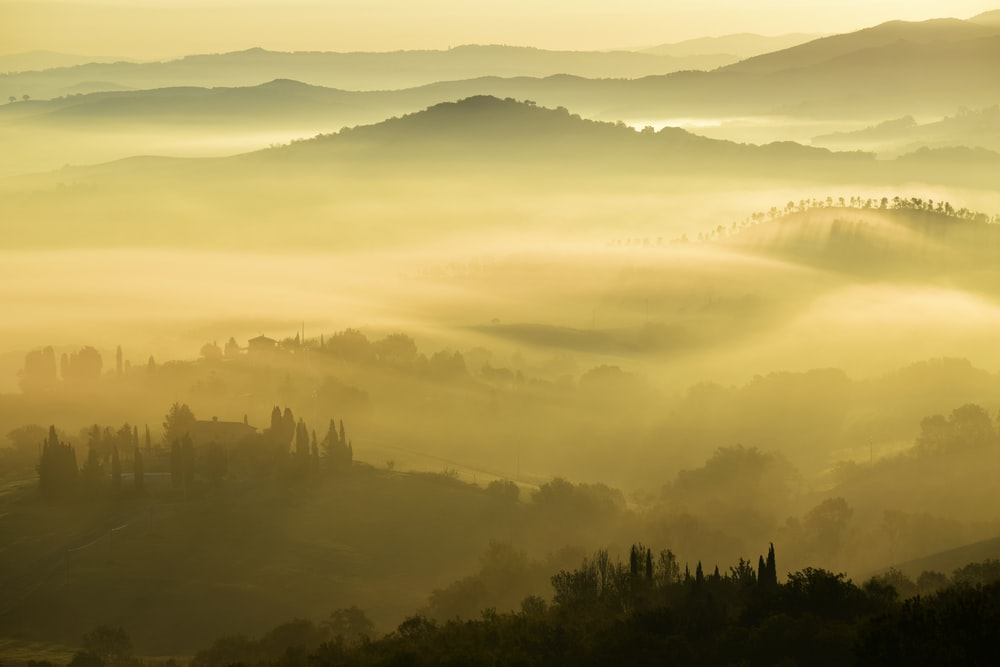 landscape photography of foggy mountains