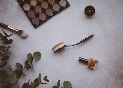 Eyeshadow, nail polish, brush, eucalyptus, highlighter