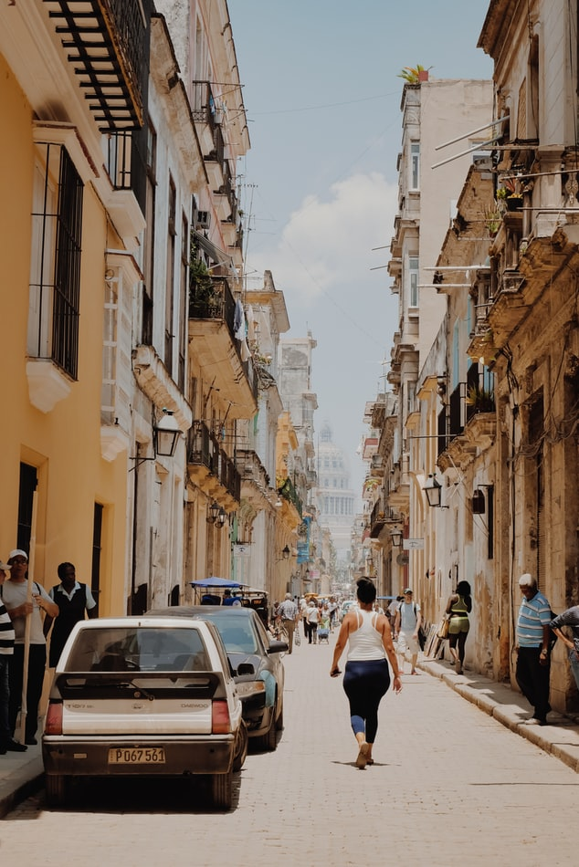 A street with a view of the Havana capitol building