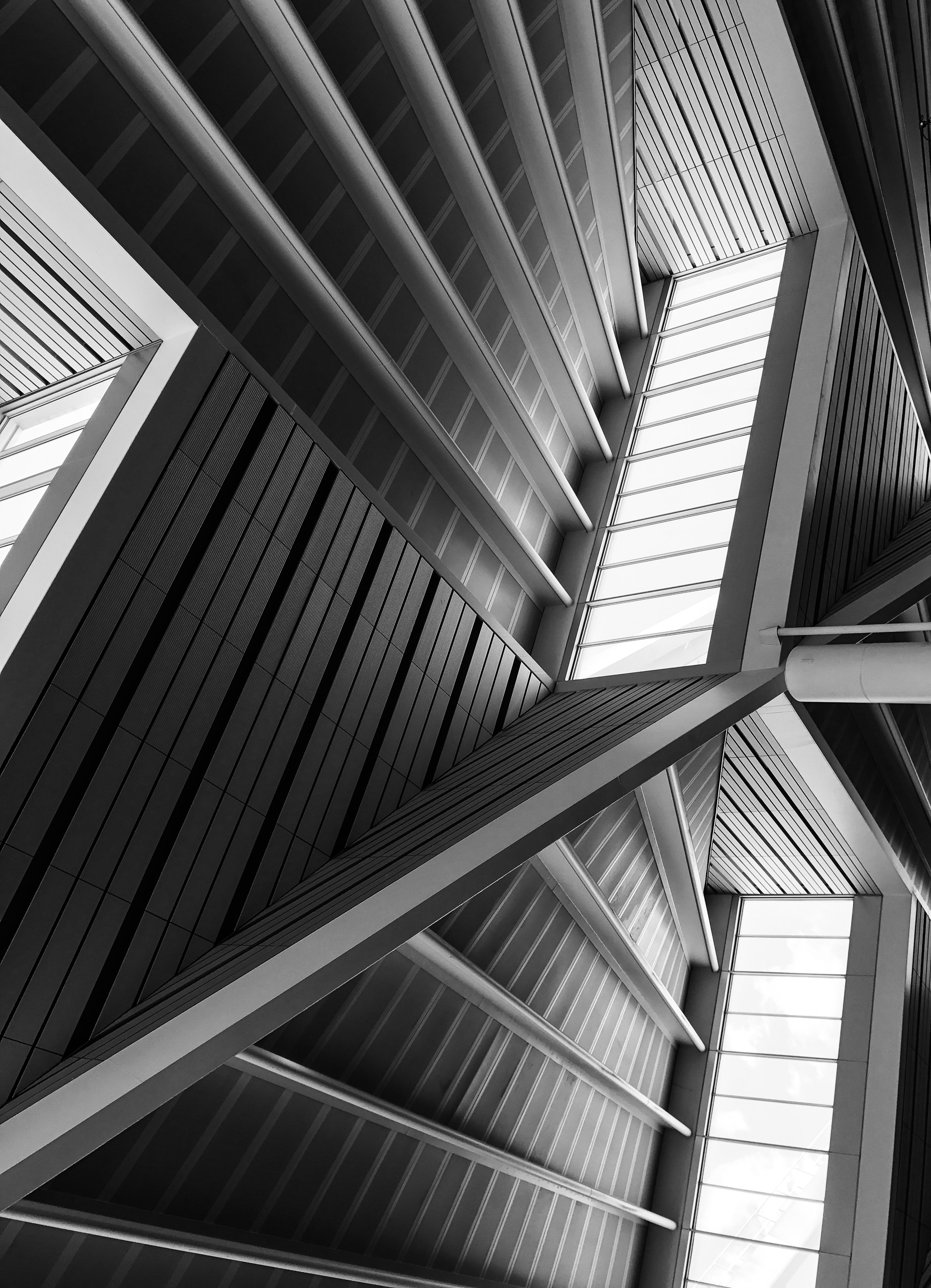architectural photography of white metal building