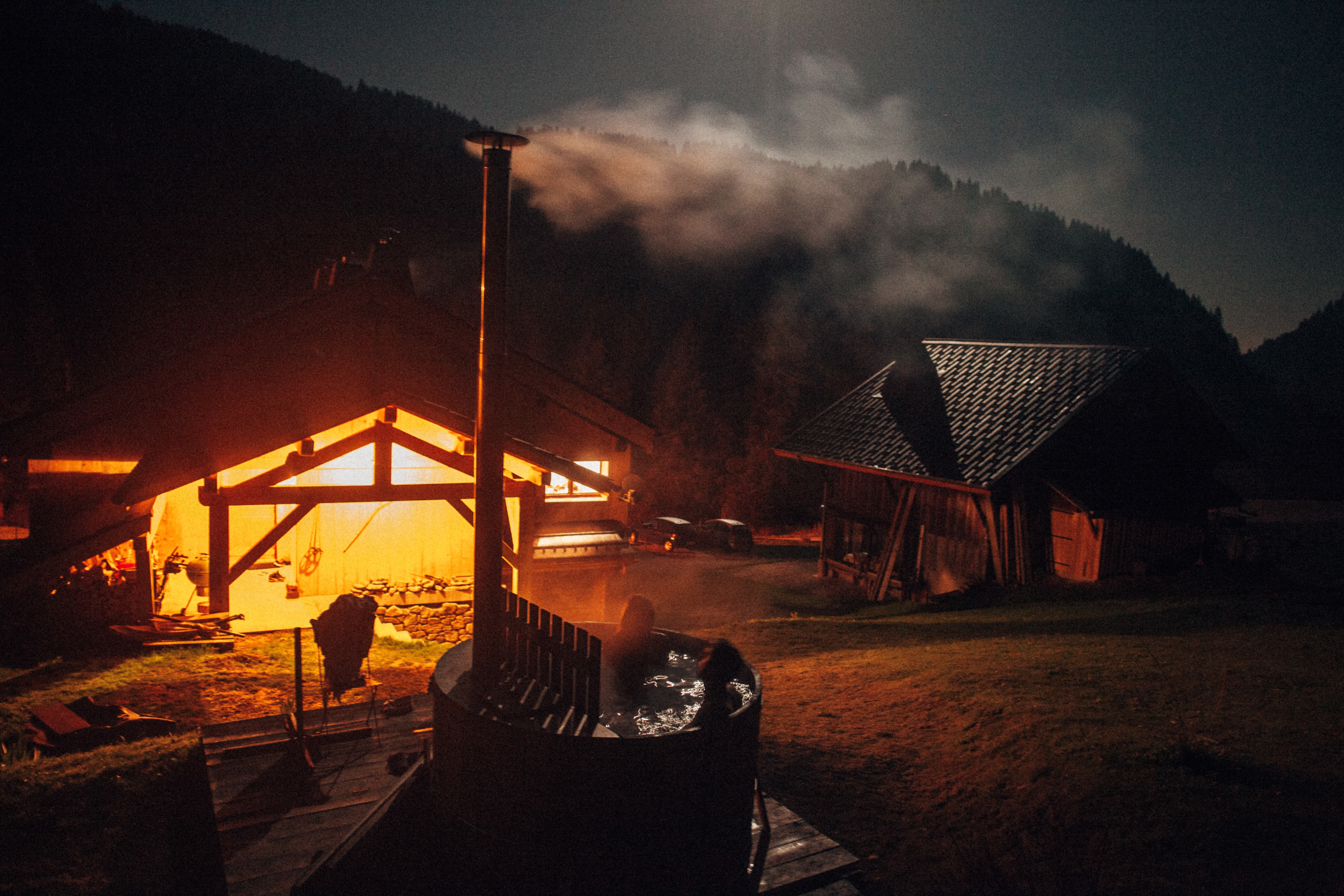 person on sauna bath during nighttime