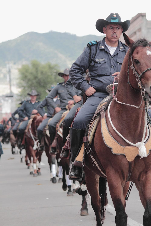 police man riding brown horse