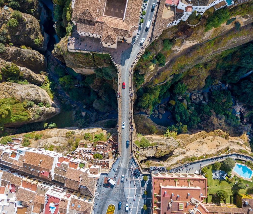 birds eye view of bridge during daytime