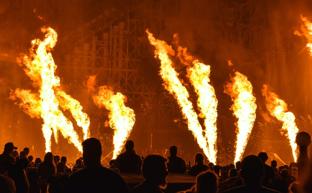 red fires in stage