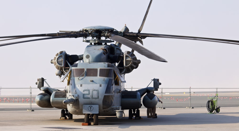 gray and black helicopter