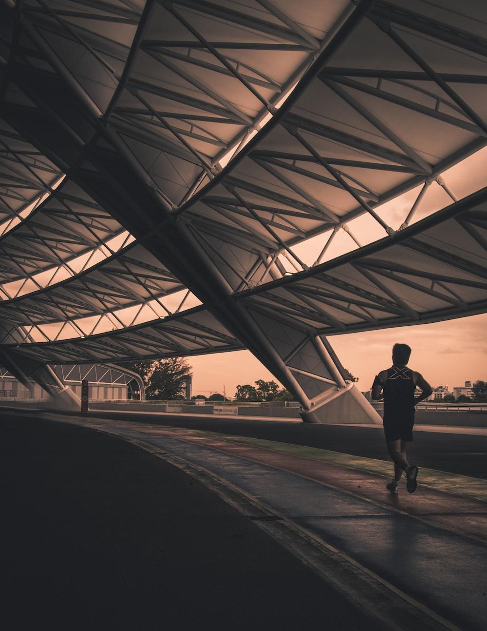 man wearing black shorts while running