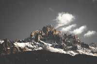 snow-covered mountain under cloudy sky during daytime