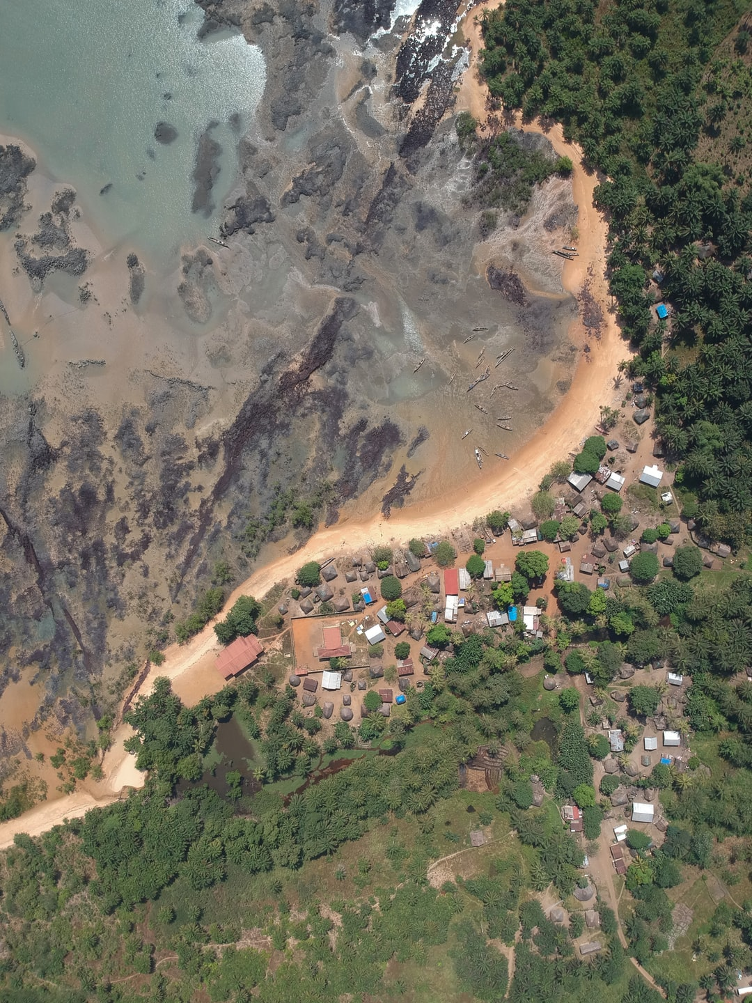 Aerial view from a traditional village in Guinée